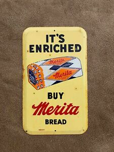 Used Buy Merita Enriched Bread Painted Tin Advertising Store Door Push Sign
