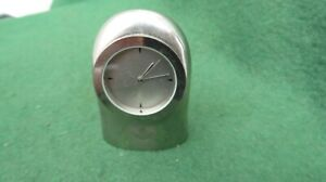 SMALL POLISHED METAL QUARTZ 'PORTSMOUTH FC' CLOCK WORKING (NEW BATTERY)