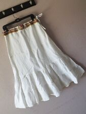 New INCA M BEADED MAXI SKIRT White Tiered Southwest Rayon Linen LONG Boho BLING