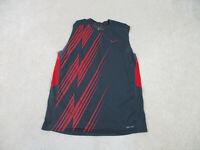 Nike Shirt Adult Medium Gray Red Swoosh Sleeveless Tank Top Dri Fit Mens B18*