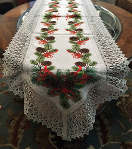 """Christmas Holiday Decor Table Runner Crochet Lace, Greenery Boughs Design 70"""""""