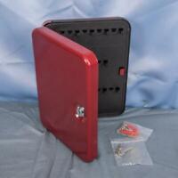 """Helix Fortress Key Safe 25 keys Metal w/ Locking key Red 10"""" x 8"""" x 2"""" dq"""