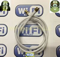 White RG58U LOW LOSS COAX RF CABLE RP-SMA MALE TO RP-SMA FEMALE WIFI EXTENSION