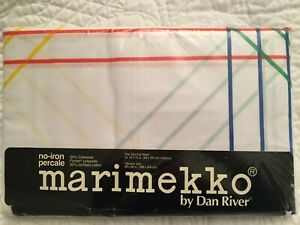 NIP Geometric Vintage Marimekko 1982 Twin Flat Sheet Red Blue Yellow Green