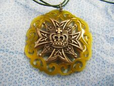 VINTAGE LIME GREEN CARVED ACRYLIC PENDANT WITH A SILVER CROSS AND CROWN