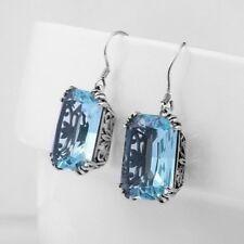 NEW 8 Carat Emerald-Cut Aquamarine Earrings~925 Silver~MIB~Drop Dead Gorgeous!