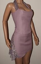 VICKY MARTIN lilac sheer lace 8 halter corset top 12 skirt suit BNWT dress BNWT