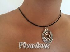 Stunning 100 % Real Leather Necklace Snake Charm Pendant Chain