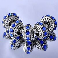Blue rhinestone european beads 5pcs Silver charms Fit european charm bracelet