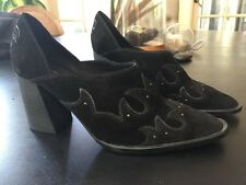 Free People Alamo Booties Size 39 Black Suede Western Heels Shoes Boots