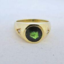 18K Gold Unisex Ring w/ Green Tourmaline & 2 accent Diamonds  (13g, size 11.75)