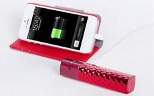 RED 2600 mAh Portable Power Bank Battery Phone Charger With Flashlight.