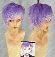 Men Cosplay DIABOLIK LOVERS/カナトKanato Short Light Purple Ombre Straight Full Wig