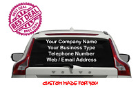 Personalised Car Rear Window Business Stickers Van Vinyl Sign Advertising Decals