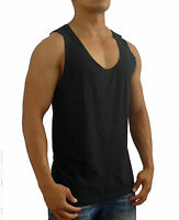 NEW MENS PLAIN BLACK SINGLET TANK TOP EURO FIT CASUAL GYM FASHION BASIC SPORT