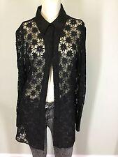 vtg Women's Liz Claiborne Black Sheer Lace Mesh Floral Blouse Shirt Sexy Goth 4