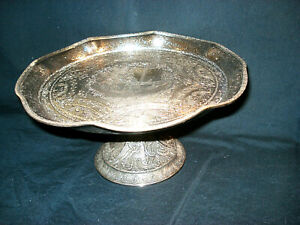 Antique Silverplate Derby Silver Co. Elevated Platter Dutch Music Scenes