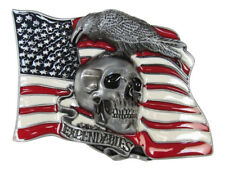 Boucle plaque de ceinture émaillé tête de mort sur fond drapeau USA, expendables