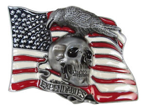 Curl Plate Of Belt Enamelled Skull On Background USA Flag, Expendables