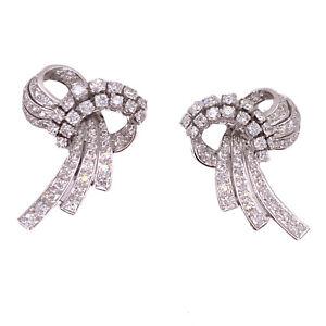 1950's Retro Diamond Palladium Ribbon Earrings Vintage Lever-backs