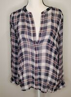 Joie Size Large Women's Top Blue Plaid 100% Silk Button Up Sheer Pocket Blouse