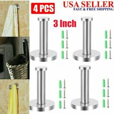4X 3 Inch Wall Mounted Stainless Steel Hooks Home Bathroom Towel Hanger Rack US