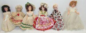 6 Vintage Hard Plastic Dolls, 7 inch