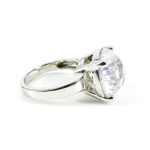 Sterling Silver Ring with Large Stunning Crystal Size 5.75