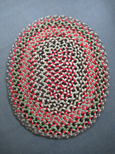 "Vintage Braided Rag Rug Oval, Red, Green, Gray, Brown, Black, 41"" x 34"", Clean"