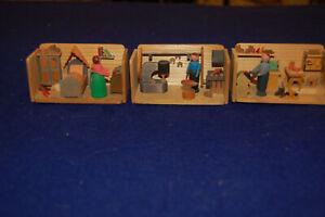 Vtg Erzgebirge Wooden 3D Optic Dioramas, set of 3
