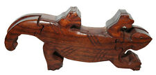 JOYERO Caja Guarda Joyas PUZZLE LAGARTO SALAMANDRA de madera tallada mano India