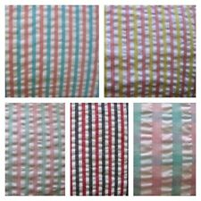 SEERSUCKER COTTON RICH FABRIC FAT QUARTERS METRE DRESSMAKING SEWING STRIPE CHECK