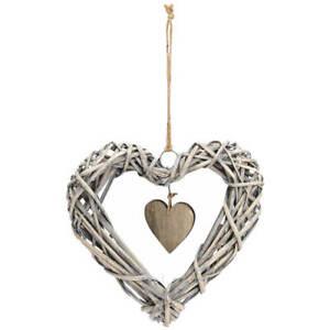 Herz Hängedeko Weidengeflecht & Holz mit Aufhänge Kordel 1 Stk grau 25x25 cm