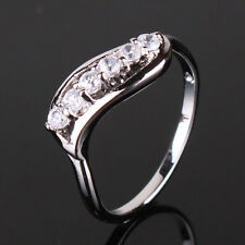 Pleasing gift! 18k white gold filled wedding white sapphire  ring SzJ-SzR