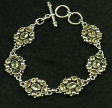 Solid .925 Sterling Silver Faceted Marquise Oval Round Citrine Bracelet
