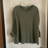 Jane & Delancey Women's Green Scoop Neck Ruched 3/4 Sleeve Blouse XL
