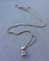 Vintage 925 Sterling Silver Small Amethyst Colour Modernist Pendant Necklace