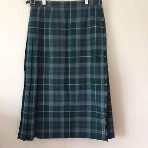 """Vintage Tartan Kilt Womens W28"""" L27"""" Wool Punk Plaid Adjustable Waist Pitlochry"""