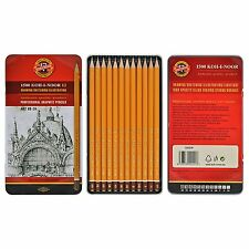 Koh-I-Noor 1502/11 Artists Soft Grades Drawing Pencils Tin 8B-2H (Set of 12)