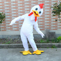 New White Chicken Mascot Costume Adults Size Dress Birthday Party Game Halloween
