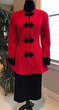 Susan by Night frog closure Red and Black jacket coat dress size Small