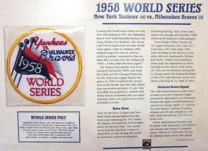 1958 WORLD SERIES PATCH CARD Willabee & Ward NEW YORK YANKEES / MILWAUKEE BRAVES