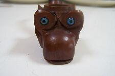 Antique Folk Art Carved Wood Primitive Glass eyes owl (?) Smoking Pipe