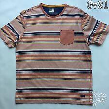 "Mens North Coast Orange Striped T Shirt Size M 38-40 P-P20"" Length 26"" 02341538"