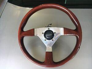 3-Spoke  GRANT Mahogany Wood Steering Wheel w Satin Silver Spokes