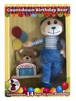 Compte à Rebours à Votre Birthday Bear Peluche Ours en & Bois Calendrier - Bleu