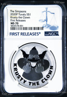 2020 Simpsons Krusty the Clown $1 1oz .9999 Silver COIN NGC MS70 FR Simpson