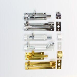 Barrel Bolt Locks Necked/Straight Sliding Latch Gate and Door Brass, Chrome, SAA