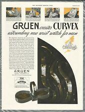 1935 GRUEN WATCH advertisement, GRUEN CURVEX wrist watches