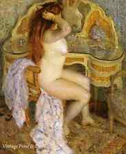 Woman Hair Mirror Art - Nude at Dressing Table by F Frieseke  8x10 Print 0281